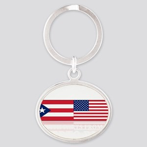 made in puerto rico(blk) Oval Keychain